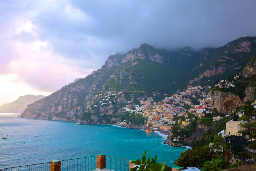 Positano as seen from the Amalfi Coast road