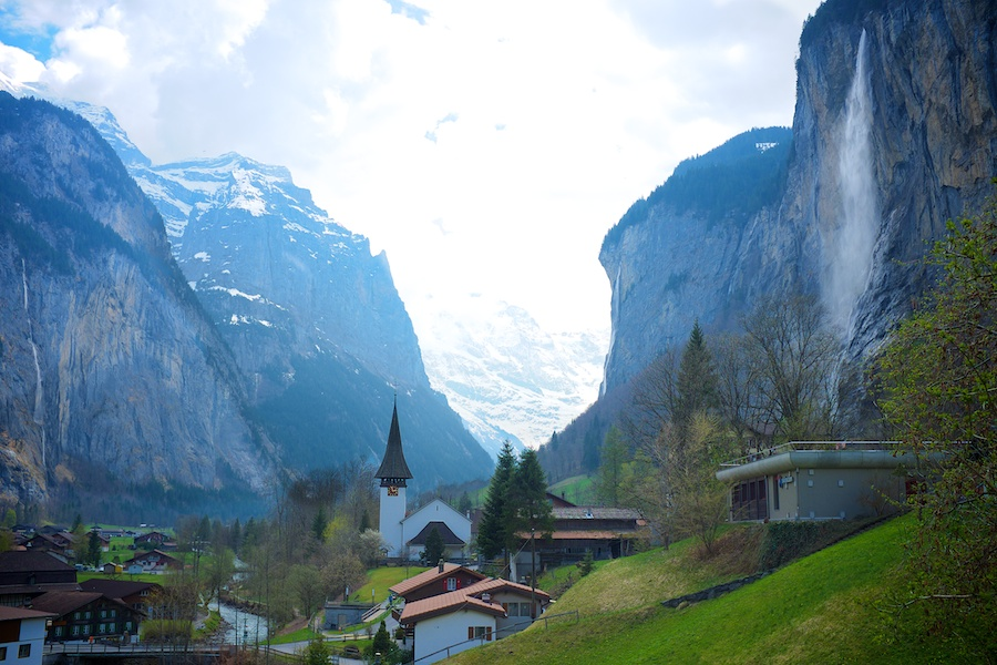 Great view of the lower half of Lauterbrunnen. Stubbach Falls on the right.