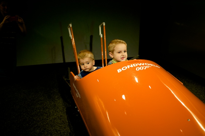 The Bond boys, escaping by bobsled!